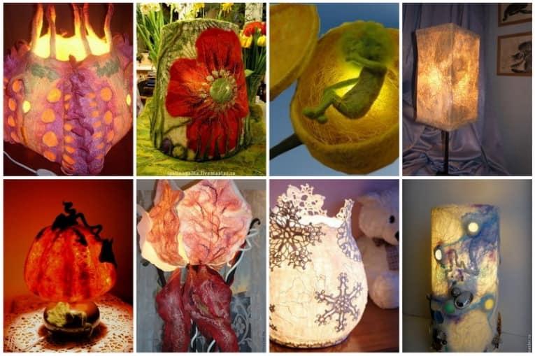 Вяленые ночники и настольные лампы из войлока фото