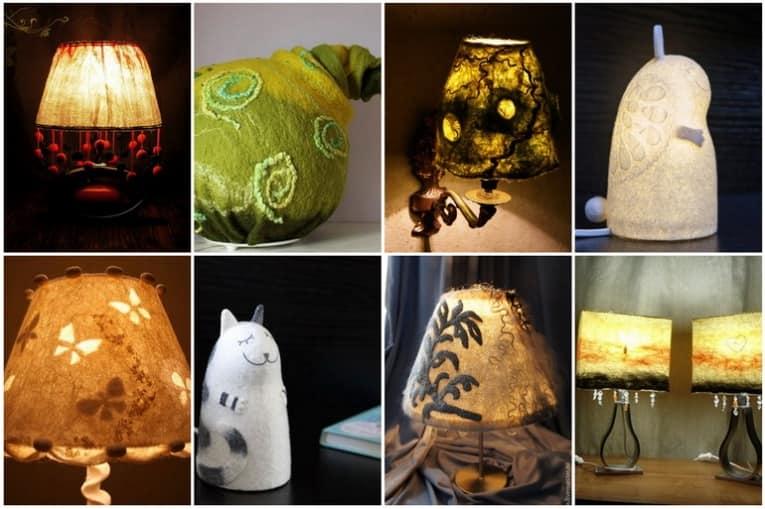 Войлочные торшеры, светильники и абажуры для декора интерьера