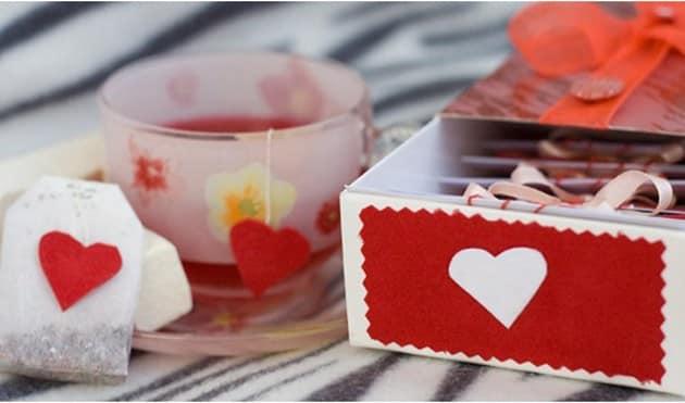 Чай в подарок на день Валентина из обычных пакетиков