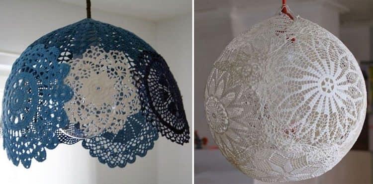 Два способа сделать круглый светильник из кружевных салфеток своими руками