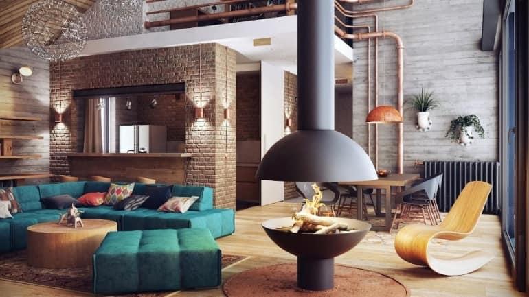Стало: уютная гостиная с оригинальным камином на чердаке