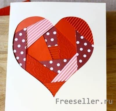 Как сделать открытку из лоскутков на 14 февраля