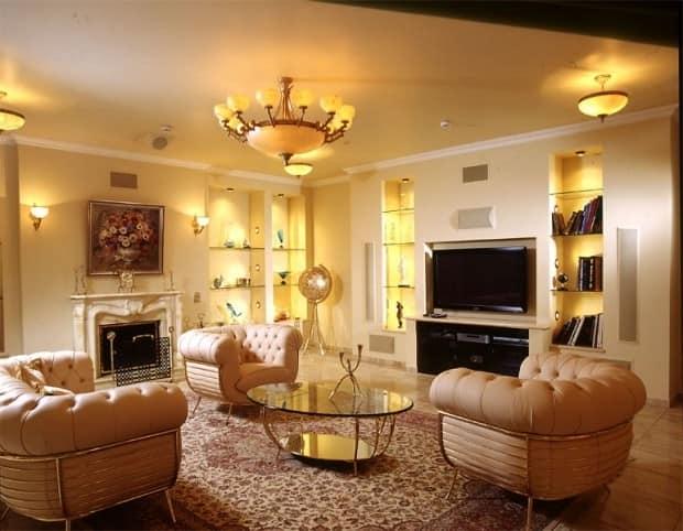 Фото различных светильников в одной гостиной