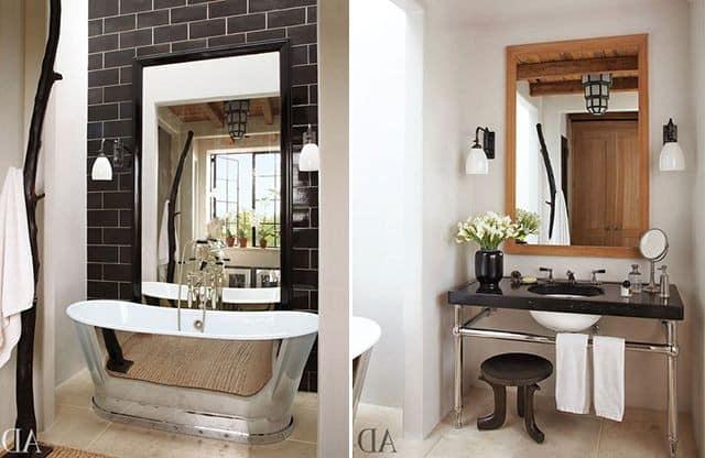 Зеркала в интерьере ванной комнаты фото