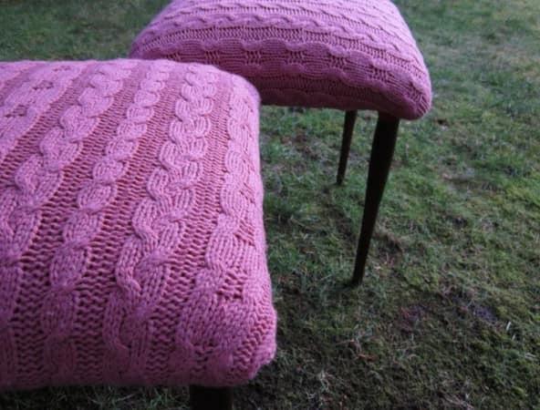 Подушки на стул из старых вязаных вещей