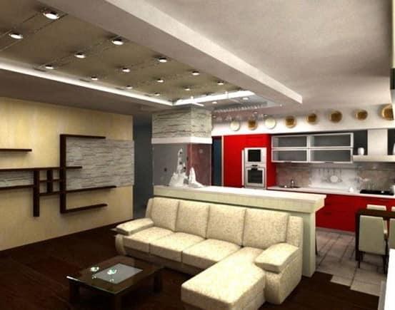 Верхнее освещение для гостиной в стиле hi-tech