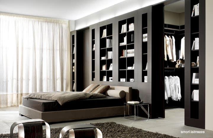 Спальня и гардеробная в одном стиле