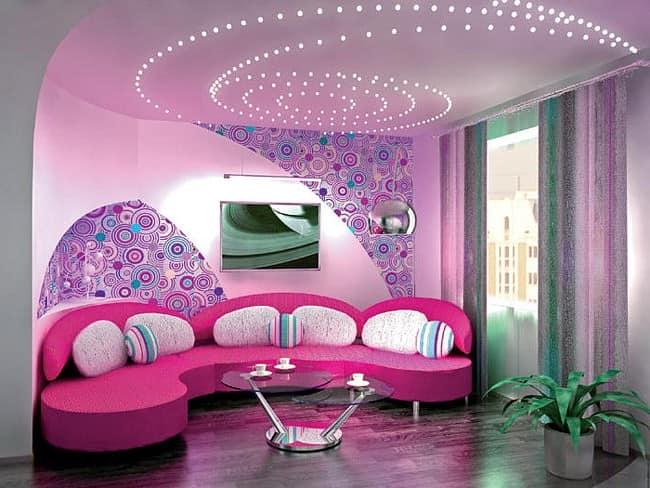 Светильники в гостиной: вариант потолочной подсветки спиралью