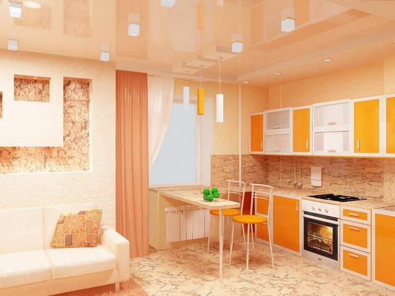 Ряд вертикальный светильников отделяет зону гостиной от кухни