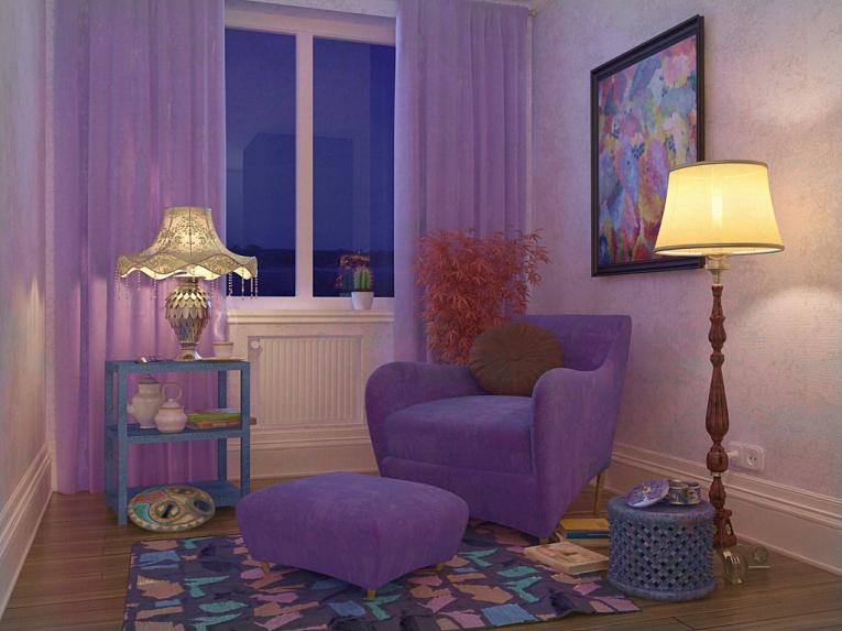 Очень уютная комната. Легкие сиреневые шторы создают ощущение глубины в маленькой комнате