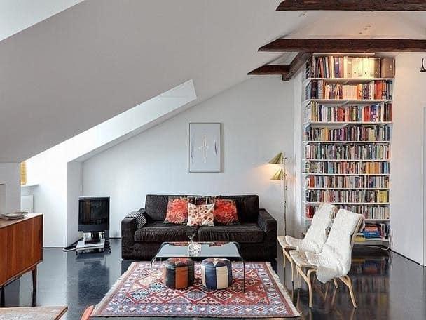 Как сделать под крышей библиотеку и комнату отдыха