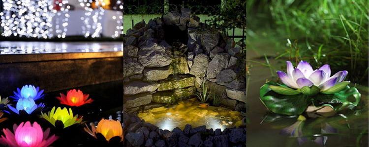 Маленькие светильники для освещения прудов и водоемов