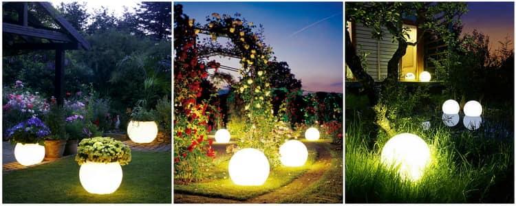 Наиболее популярны шарообразные садовые светильники