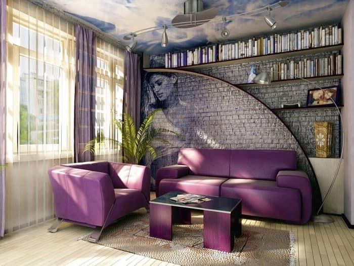 Фиолетовый диван в промышленном интерьере