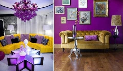 Желтый диван в фиолетовых интерьерах фото