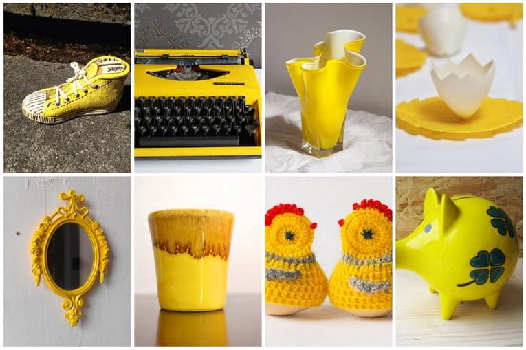 Винтажные вещи для декора дома желтого цвета