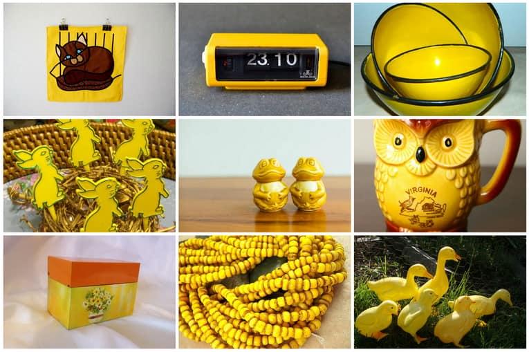 Яркий желтый цвет винтажных вещей для украшения интерьера