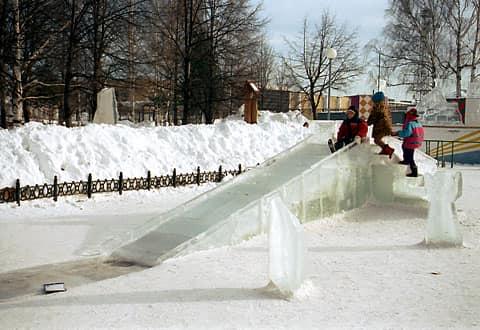 Самодельная ледяная горка