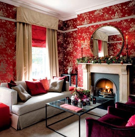 Красные цвета в интерьере - идея для Нового года