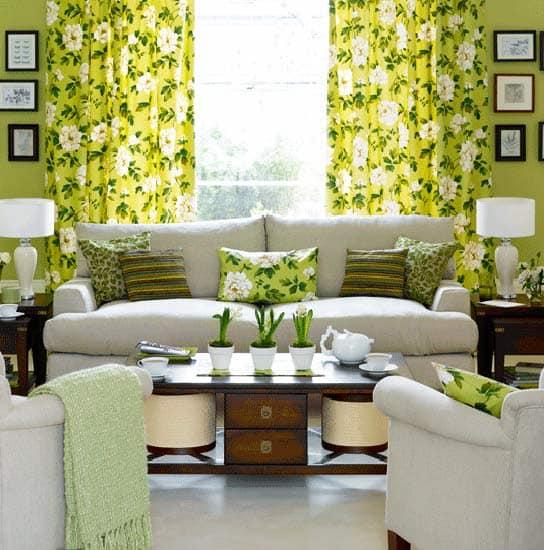 Зеленые элементы интерьера на фото