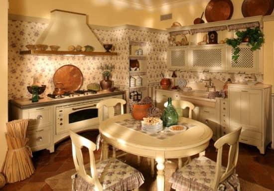 Кухня и столовая в стиле кантри прованс