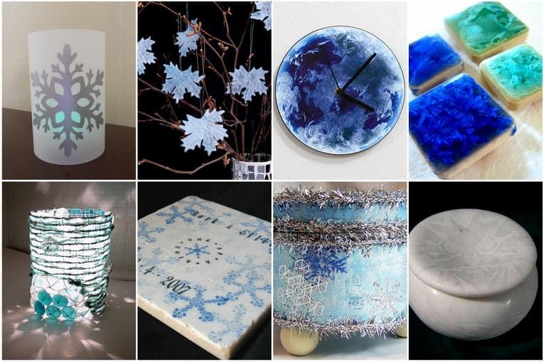 Морозные узоры в декоре интерьера: снежинки, иней и снег для украшения фото