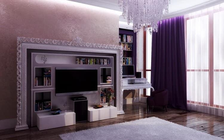 Фиолетовые обои для гостиной фото