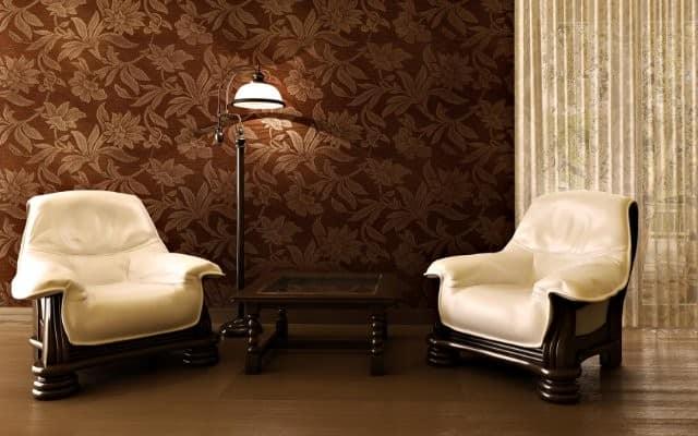 Коричневые обои для стен в гостиной фото