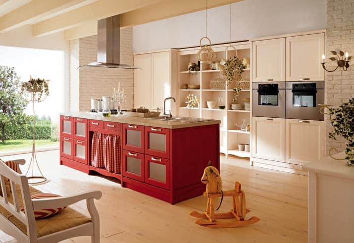Остров на кухне со шкафчиками для хранения продуктов