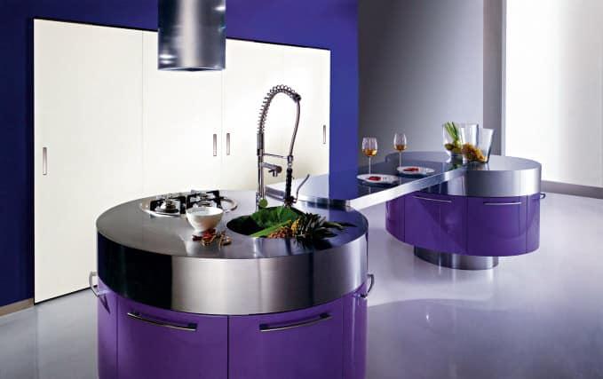 Остров необычной формы для кухни в стиле модерна фото