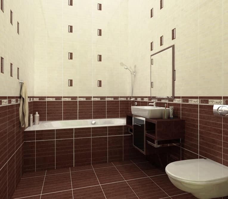 Плитка с узором в классической ванной комнате фото