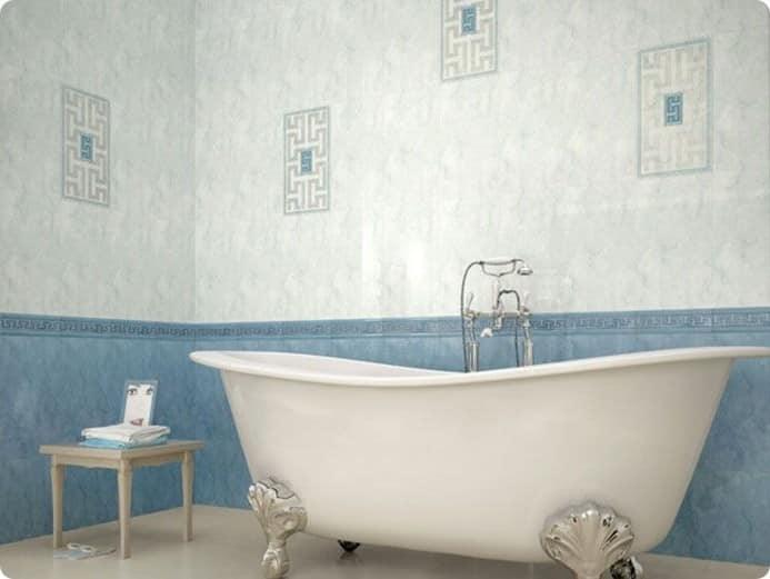 Ванная в стиле кантри с кафельной плиткой с рисунком
