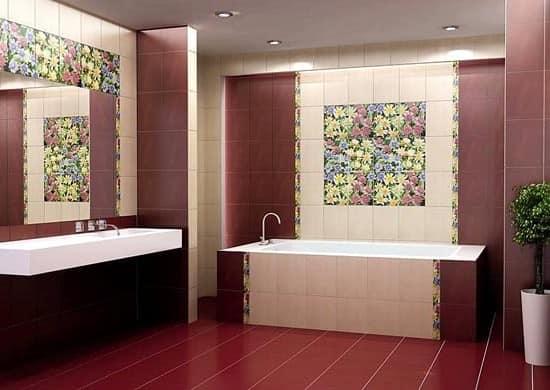 Панно и рисунки на плитки в декоре ванной комнаты
