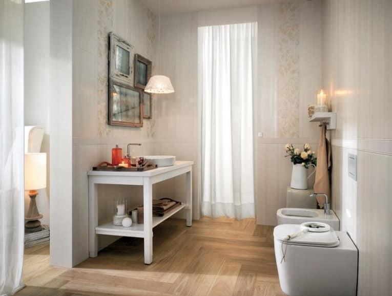 Узор на плитке в ванной в стиле кантри