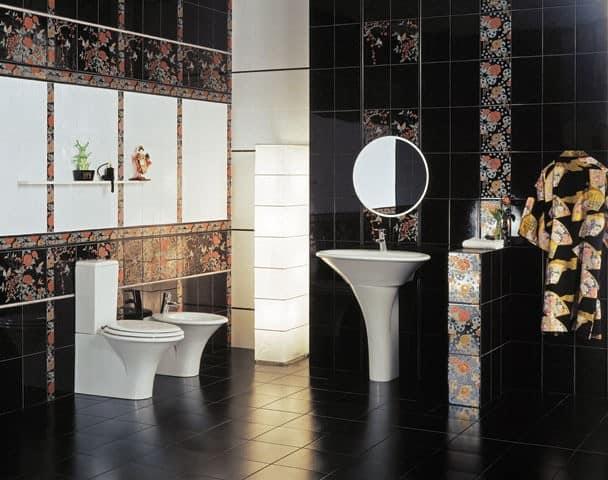 Ванная в черном цвете - выбираем плитку