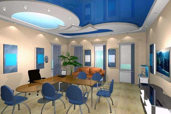 Синий цвет потолка в столовой