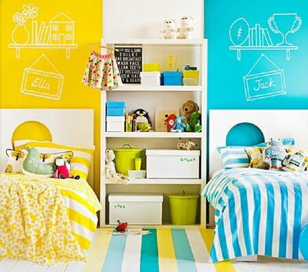 Желтый и голубой в детской для разнополых детей