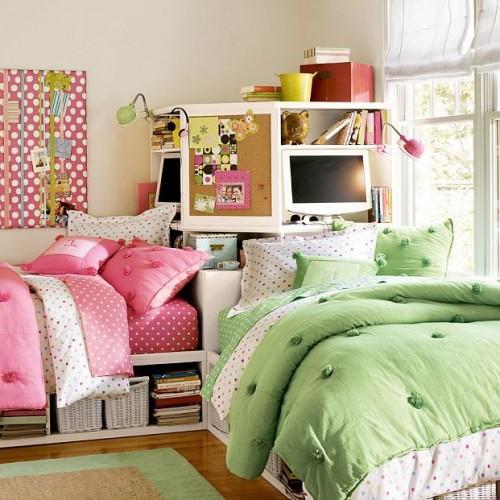 Кровати под углом в детской для двух разнополых детей