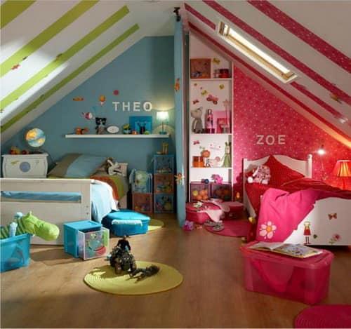 Классические цвета в детской для разнополых детей