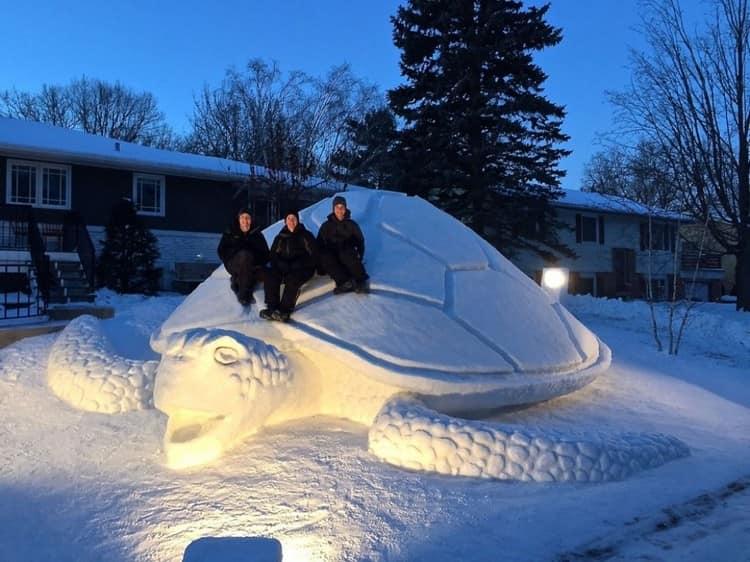 Гигантская черепаха, сделанная из снега