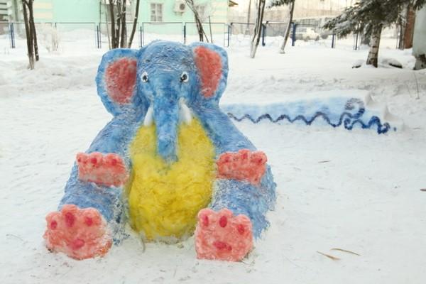 Как слепить слона из снега вместе с детьми