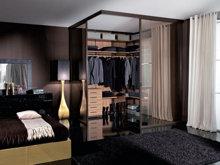 Дизайн проект гардеробной в темной спальне