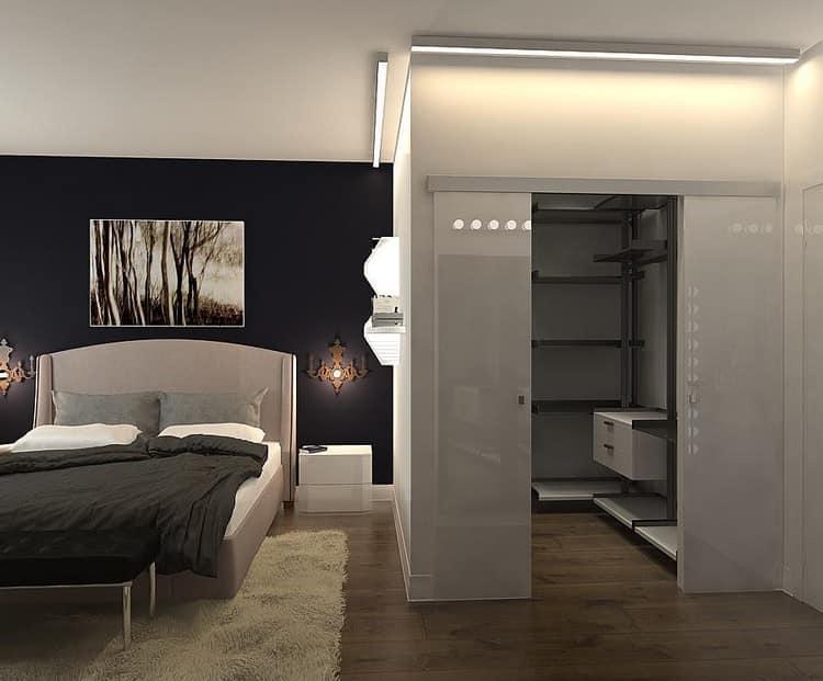 Отделение части спальни под гардероб