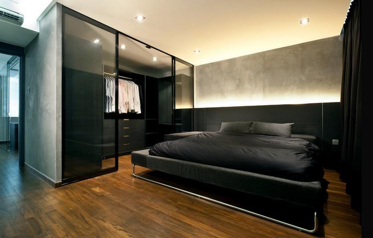 Спальня-гардеробная в черном цвете