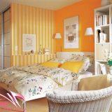 Оранжевая спальня с гардеробной