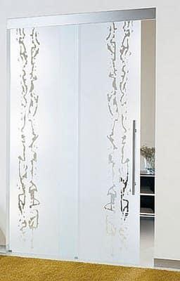 Стеклянная дверь с рисунком и напылением