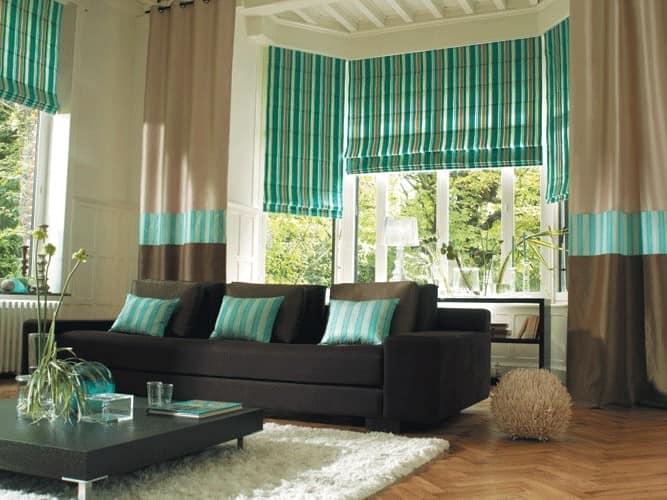 Идея для штор в гостиной с низком потолком