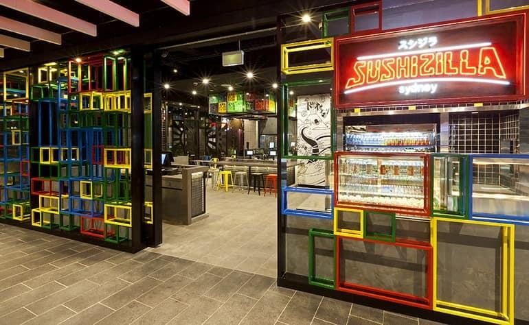 Суши-бар Sushizilla с ярким интерьером в Сиднее