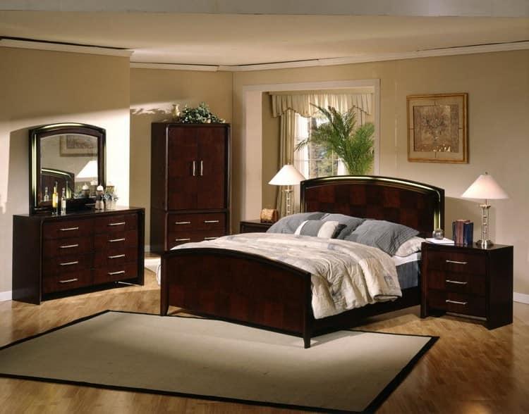 Спальня с темной мебелью фото