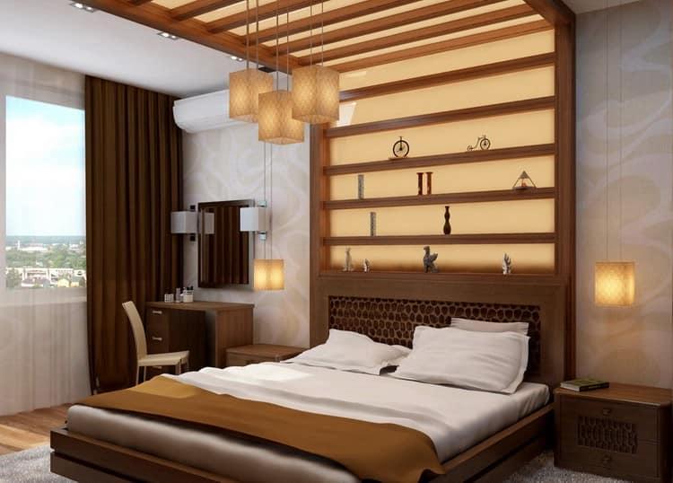 Коричневая мебель для светлой спальни